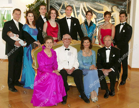 Stock Picture of L-R back row - Bernd Gawe, daughter Paulina Marie, Countess Diana Bernadotte, Count Christian Bernadotte, Countess Catherina Bernadotte, Count Bjorn Bennadotte, Countess Bettina Bernadotte, Crown Princess Victoria and Prince Carl Philip. L-R front row - Countess Sonja Bernadotte, Count Lennart Bernadotte, Queen Silvia and King Carl Gustaf