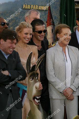 Mike Myers, Cameron Diaz, Antonio Banderas and Julie Andrews