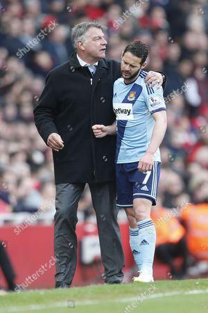 Sam Allardyce head coach / manager of West Ham United and Matthew Jarvis of West Ham United