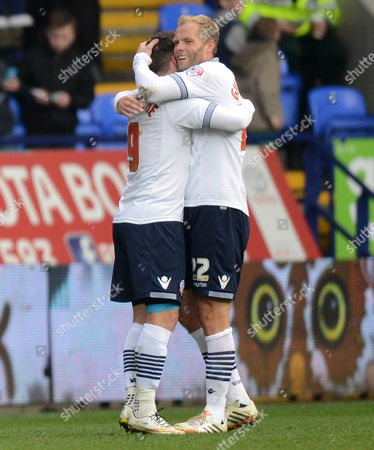 Bolton Wanderers' Eidur Gudjohnsen congratulates team-mate Adam Le Fondre after he scored the second goal