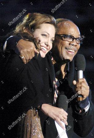 Angelina Jolie with Quincy Jones