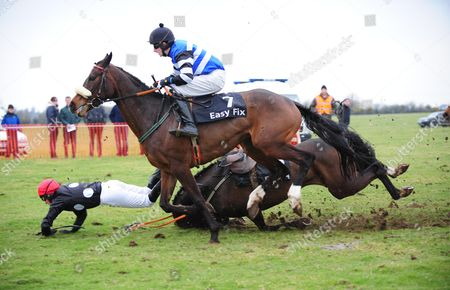 Belclare PTP SUE OSCAR Gave Barry Browne a hard time on their way to the start for the 5&6-Y-O Mares Maiden Race, Before fallong at the 6th fence all were OK after.