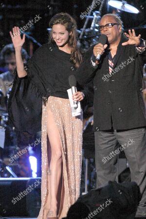 Angelina Jolie and Quincy Jones