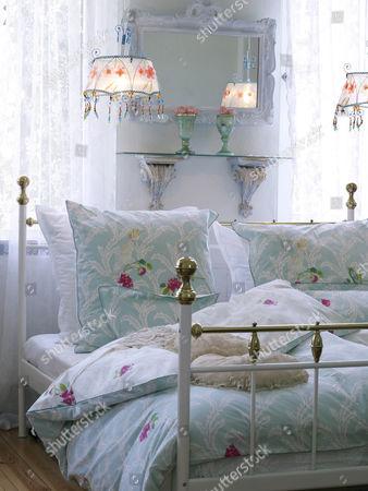Romantic bedroom with nostalgic bed