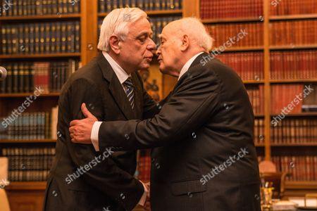 The new President Prokopis Pavlopoulos and the outgoing President Karolos Papoulias