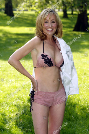 Stock Picture of Susan Irby modelling a bikini made from salmon skin