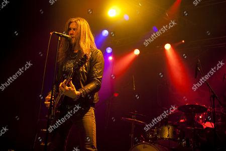 Singer and frontman of the Swedish rock and metal band Bonafide live in the Transilvania venue in Erstfeld, Uri, Switzerland