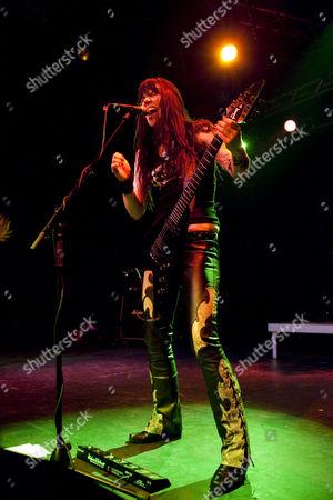 Mia Coldheart, frontwoman of the Swedish all-female heavy metal band Crucified Barbara live in the Transilvania venue in Erstfeld, Uri, Switzerland