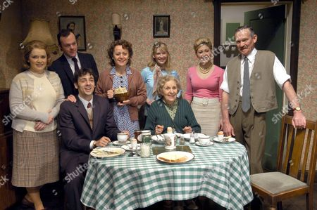 Rachel Leskovac, Matt Hickey (back), Ralf Little, Tracie Bennett (teapot), Joanna Page (back), Doreen Mantle (front), Sarah Churm (in pink), Paul Copley (extreme right).