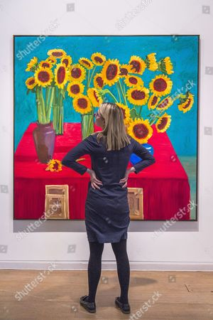 Stock Photo of 30 Sunflowers painting by David Hockney