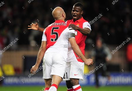 Aymen Abdennour and Elderson Uwa Echiejile of AS Monaco celebrate at full-time