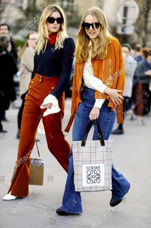 Stock Image of Camille Charriere and Alexandra Carl - After Chloé Paris RTW Fall-Winter PFW FW15, Street Style Fashion, on.avenue General Eisenhower.