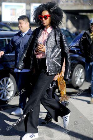 Julia Sarr-Jamois after Kenzo at Porte de la Vilette, Paris RTW Fall-Winter PFW FW15, Street Style Fashion.