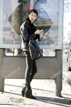 Estelle Chen Model off duty after Kenzo, after Kenzo, at Porte de la Vilette, Paris RTW Fall-Winter PFW FW15, Street Style Fashion.