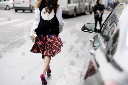 Editorial photo of Street Style at Autumn Winter 2015, Paris Fashion Week, France - 09 Mar 2015