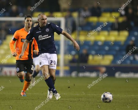 Stock Picture of Striker Gary Taylor-Fletcher during the Sky Bet Championship match between Millwall and Brighton and Hove Albion at The Den, London