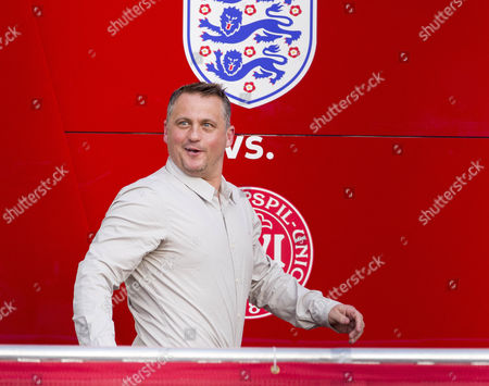 Ex Cricketer Darren Gough (back) In A Live Broadcast Radio Booth At Wembley Stadium. He Is A Guest Pundit On Adrian Durhams Drive Time Show Covering The Friendly Football Game England And Denmark.