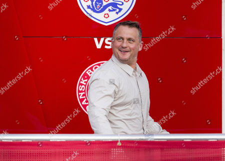Ex Cricketer Darren Gough(back) In A Live Broadcast Radio Booth At Wembley Stadium. He Is A Guest Pundit On Adrian Durhams Drive Time Show Covering The Friendly Football Game England And Denmark.