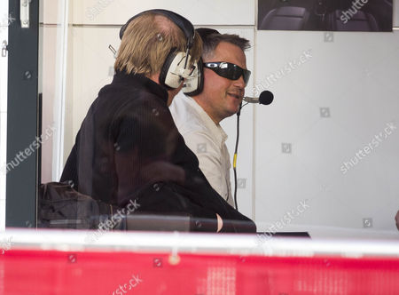Stock Photo of Ex Cricketer Darren Gough(back) In A Live Broadcast Radio Booth At Wembley Stadium. He Is A Guest Pundit On Adrian Durhams Drive Time Show Covering The Friendly Football Game England And Denmark.