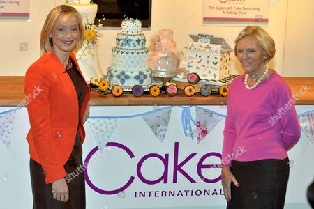 Stock Image of Cake International Show At Evencity Trafford Park Manchester. Mary Berry With Little Venice Cake Co. Founder Mich Turner (red) Launch The Show.  7/3/14.