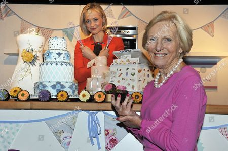 Editorial picture of Cake International Show At Evencity Trafford Park Manchester. - Mary Berry With Little Venice Cake Co. Founder Mich Turner (red) Launch The Show. Pic Bruce Adams / Copy Foster - 7/3/14.