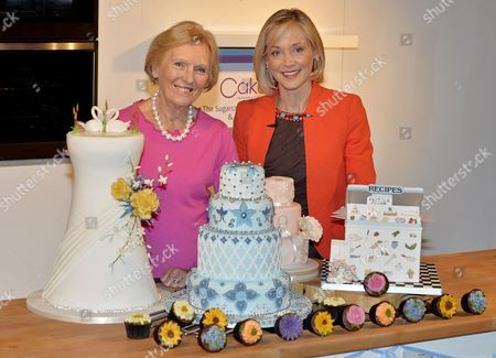 Stock Picture of Cake International Show At Evencity Trafford Park Manchester. Mary Berry With Little Venice Cake Co. Founder Mich Turner (red) Launch The Show.  7/3/14.