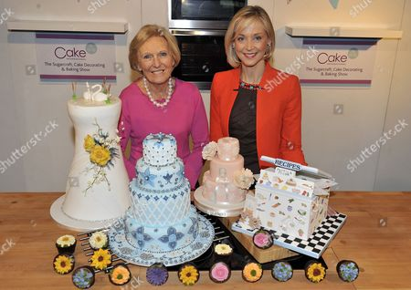 Editorial image of Cake International Show At Evencity Trafford Park Manchester. - Mary Berry With Little Venice Cake Co. Founder Mich Turner (red) Launch The Show. Pic Bruce Adams / Copy Foster - 7/3/14.