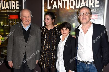 Stock Photo of Michel Bouquet, Anna Sigalevitch and movie director Francois Margolin