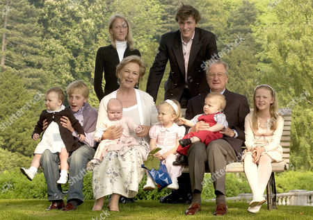L to R, (back), Princess Maria Laura , Prince Amedes. (front) Prince Joachim with Princess Laetitia on his knees, Queen Paola with Princess Louise on her knees, Princess Elisabeth King Albert with Prince Gabriel on his knees and Princess Louisa Maria