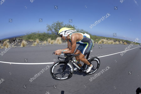 The Australian professional triathlete Chris McCormack on the bike course of Ironman Triathlon World Championship in Kailua-Kona, Hawaii, USA