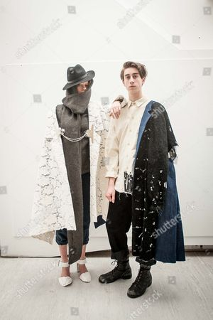 Christina Valentine, left, and Andrew Dymoke model designs by Rachel Eustace, daughter of renowned photographer, David Eustace
