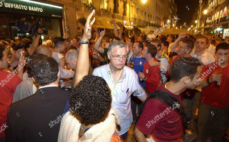 David Swift coordinator of the British police operation mingling with England fans in Rossio Square, the night before the Euro 2004 England v France game Lisbon, Portugal - 12 Jun 2004
