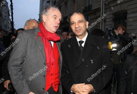 Former French Culture Minister Frederic Mitterand with Mohamed Ali Chihi, Ambassador of Tunisia in France.