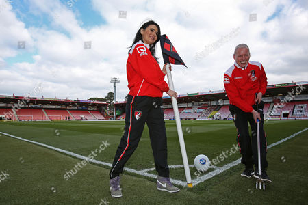 Natalie Sawyer and Jim White for Sky Sports News pose in Bournemouth kits.