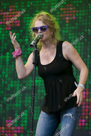 Singer Inga Humpe of the German pop band 2raumwohnung live at the Heitere Open Air in Zofingen, Switzerland