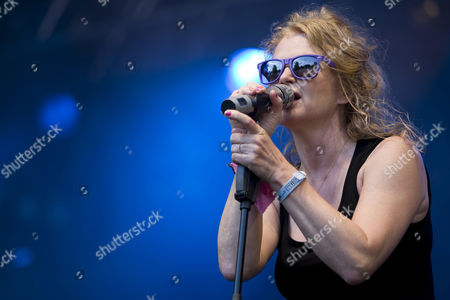 Stock Photo of Singer Inga Humpe of the German pop band 2raumwohnung live at the Heitere Open Air in Zofingen, Switzerland