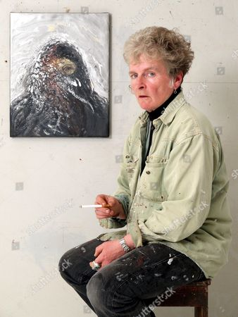 Maggie Hambling in her studio with painting' Friendly Fire Iraq' - 08 Jun 2004