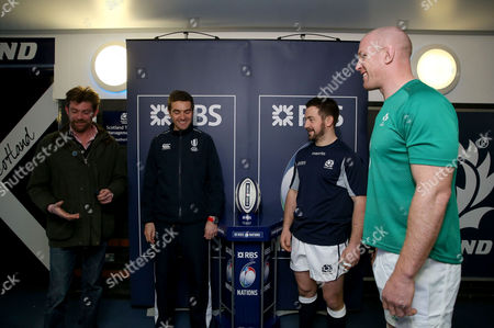 Clement Wilson with referee JŽr?me Garc�s, Ireland's Paul O'Connell and Greig Laidlaw of Scotland at the coin toss