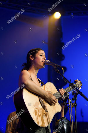 German singer and musician Graziella Schazad live at Blue Balls Festival at Lucerne hall of the KKL, Lucerne, Switzerland