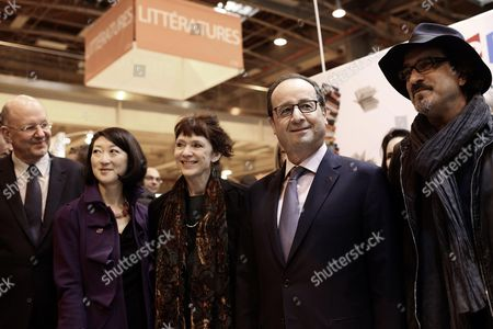 Stock Image of French President Francois Hollande meets with French Culture Minister Fleur Pellerin, President of the French public media group France Televisions Remy Pflimlin and writer Atiq Rahimi