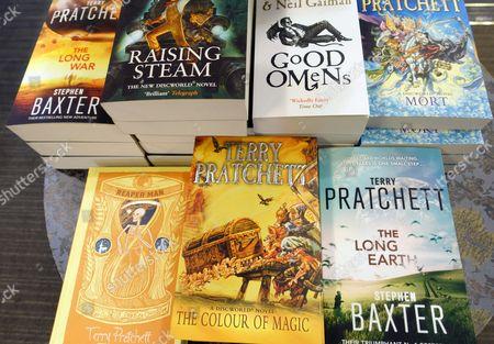 Stock Photo of Books by Terry Pratchett in London bookshop