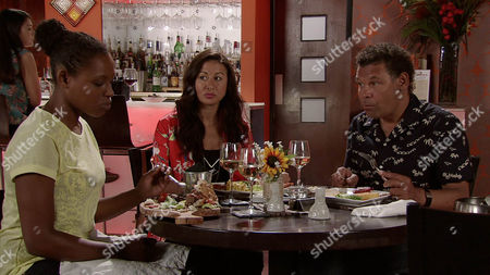 Stock Photo of Neil tells Andrea Beckett [HAYLEY TAMADDON] that heÕs got a yearÕs contract working abroad and he wants her to go with him. Andrea tells him again that itÕs over but will her words fall on deaf ears? Meanwhile Jenna Kamara [KRISSI BOHN] finds herself duped into having dinner with Lloyd Mullaney [CRAIG CHARLES] and Andrea, can the two women sort out their differences?