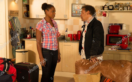 Stock Image of After a pep talk from Sophie, Jenna Kamara [KRISSI BOHN]  announces to Lloyd Mullaney [CRAIG CHARLES] that it's time she did something with her life and she's going to do volunteer work overseas. Lloyd's gutted, will he be able to change her mind?