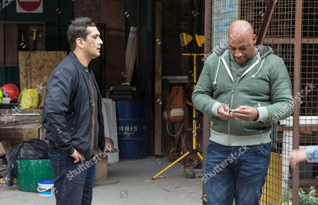 Kal Nazir [JIMI MISTRY] confronts Tony Stewart [TERENCE MAYNARD] about Zeedan's paltry wages.