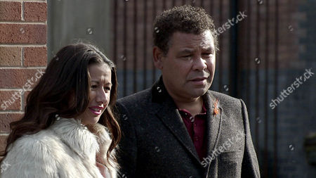 Stock Photo of When Lloyd Mullaney [CRAIG CHARLES] gets a call from the British Embassy to tell him Jenna's been arrested in Spain, he's worried sick and tells Andrea BECKETT [HAYLEY TAMADDON] he'll have to fly out to Madrid immediately. As Andrea sees Lloyd off, Steve McDonald [SIMON GREGSON] is nonplussed and Lloyd leaves, hurt.