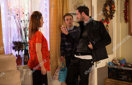 Thursday 25 December 2014 Whilst Gail, Michael and David call in the bistro to see   Nick, Kylie Platt [PAUALA LANE]  stays at home to prepare Christmas dinner. She's horrified when Callum Logan [SEAN WARD] lets himself in and presents Max with a brand new bike. Kylie orders Callum out of the house but Callum refuses to leave and pulling out a bag of speed, offers it to her. Arriving back David Platt [JACK P SHEPHERD] catches them red-handed. Callum introduces himself to David, explaining he's Max's Dad, Kylie's ex and her drug dealer. David's horrified. Gail, Michael and Audrey return home to find David and Callum fighting. As her family life implodes is Kylie about to lose everything?