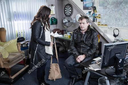 Stock Picture of Steve McDonald [SIMON GREGSON] is upbeat ahead of his shift at Street Cars but Michelle wonders if he's pushing himself too hard. As he works on the switch in the cab office, the pressure of the job and Andrea's [HAYLEY TAMADON] incessant wittering soon take their toll and he leaves early.