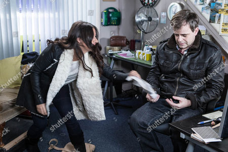 Stock Image of Steve McDonald [SIMON GREGSON] is upbeat ahead of his shift at Street Cars but Michelle wonders if he's pushing himself too hard. As he works on the switch in the cab office, the pressure of the job and Andrea's [HAYLEY TAMADON] incessant wittering soon take their toll and he leaves early.