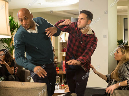 In a rage, Jason Grimshaw [BRUNO LANGLEY] marches up to a stunned Tony Stewart [TERENCE MAYNARD] and accusing him of having an affair with Eva Price [CATHERINE TYLDESLEY], punches him.