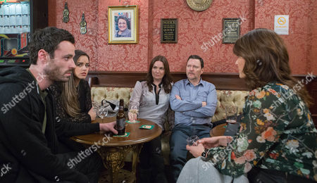 Anna Windass [DEBBIE RUSH] annoyed when Linda [JACQUELINE LEONARD], Katy Armstrong [GEORGIA MAY FOOTE] and Callum Logan [SEAN WARD] crash her date with Owen Armstrong [IAN PULESTON-DAVIES]. Katy's peeved as Anna's frosty with Linda and when Gail overhears Callum smarming the Armstrongs, she gleefully reveals that he's a drug-dealer. Katy's defensive as Owen and Linda reel. Sick of her evening being hijacked, how will Anna respond?     Picture
